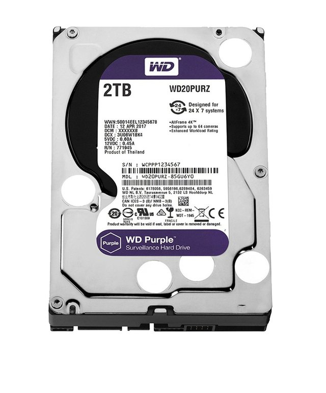 DISCO RIGIDO 2TB WD PURPLE SATA3 3.5 6GB/S 64M 5400RPM - comprar online