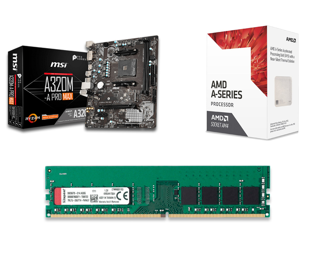 COMBO AMD APU A8 9600 + A320 + 4GB 2400MHZ KINGSTON 4X1