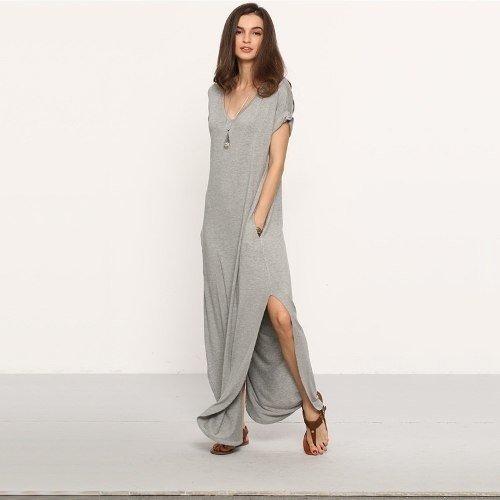 Vestido largo de modal gris
