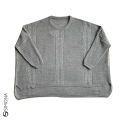 Sweater ancho con trenza Gris en internet