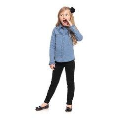 Camisa jeans manga longa babados