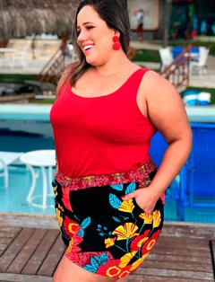 Bermuda Bulble Floral Plus Size - Divas Plus