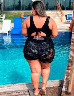 Shorts Boxer Bolso Arrastão Preto Plus Size - Divas Plus