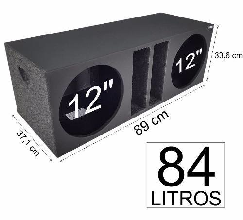 Caixa 2 X 12 Hard Power Hp600s Duto Régua Mdf-18mm 84 Litros