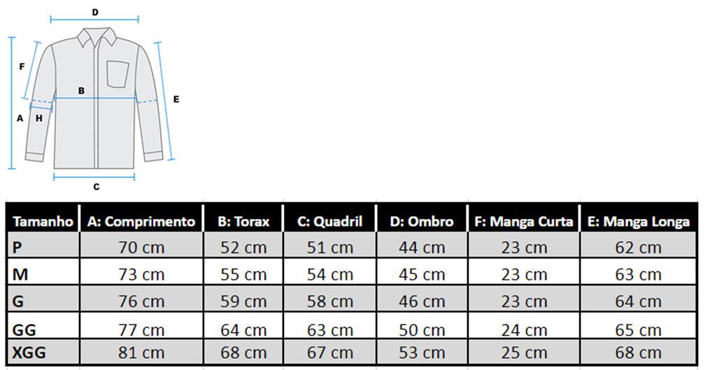 Tabela medidas Moldscad