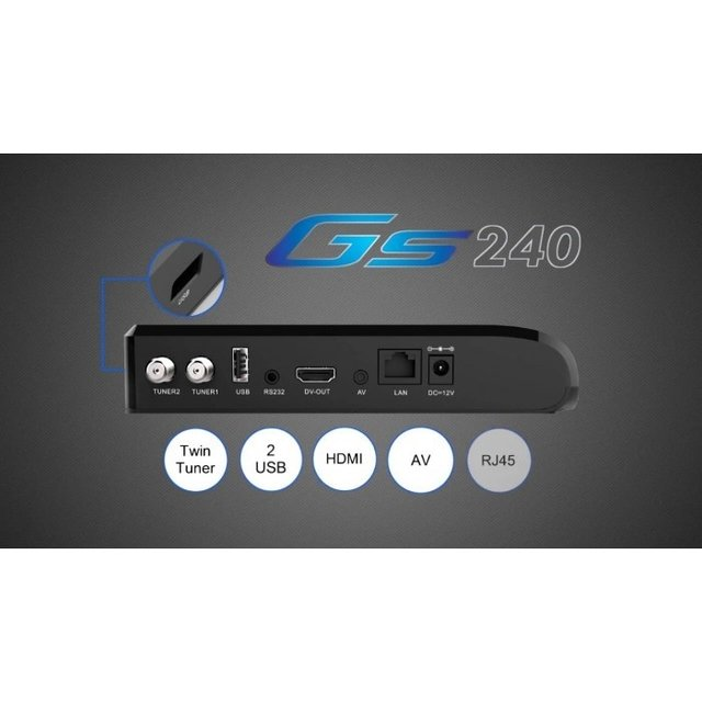 Imagem do Receptor FTA Globalsat GS-240 Ultra HD ACM IPTV WiFi