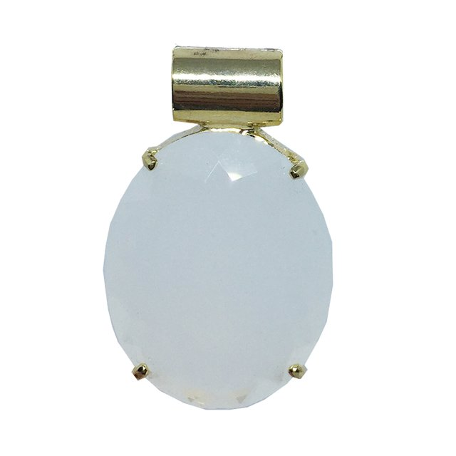 Pingente Oval Cristal Leitoso Ouro