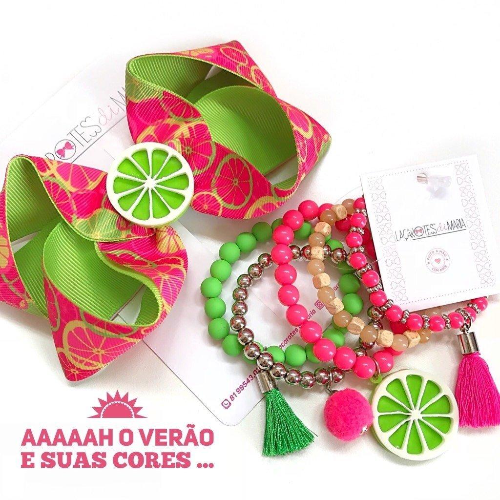 6a32961279b8b4 Kit limão : Laço + mix de pulseiras
