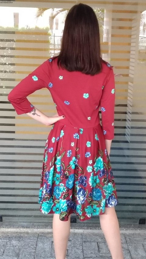 Midi Floral wineDress - online store