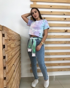 t-shirt cropped destroyed tie-dye - loja online