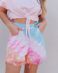shorts jeans sorella tie-dye destroyed