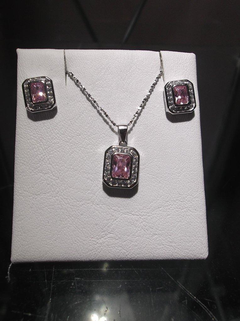 669893677245 Set collar y aros finos de plata 925 rodinada y cubics