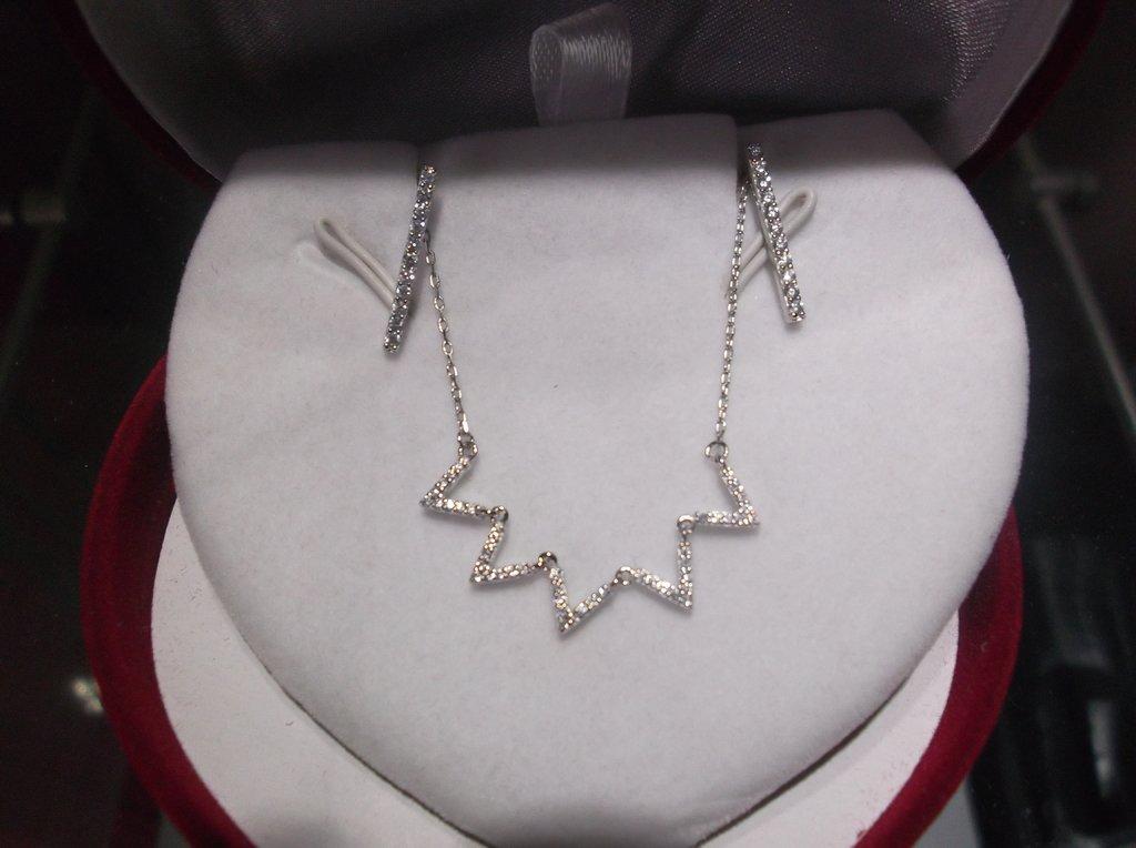 8838280fd4ce Set Collar zigzag y aros de Plata 925 Rodinada y cubics