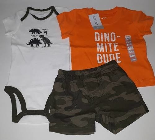 Carters Sets De 3 Piezas Body Short Y Remera 6 Meses Algodon