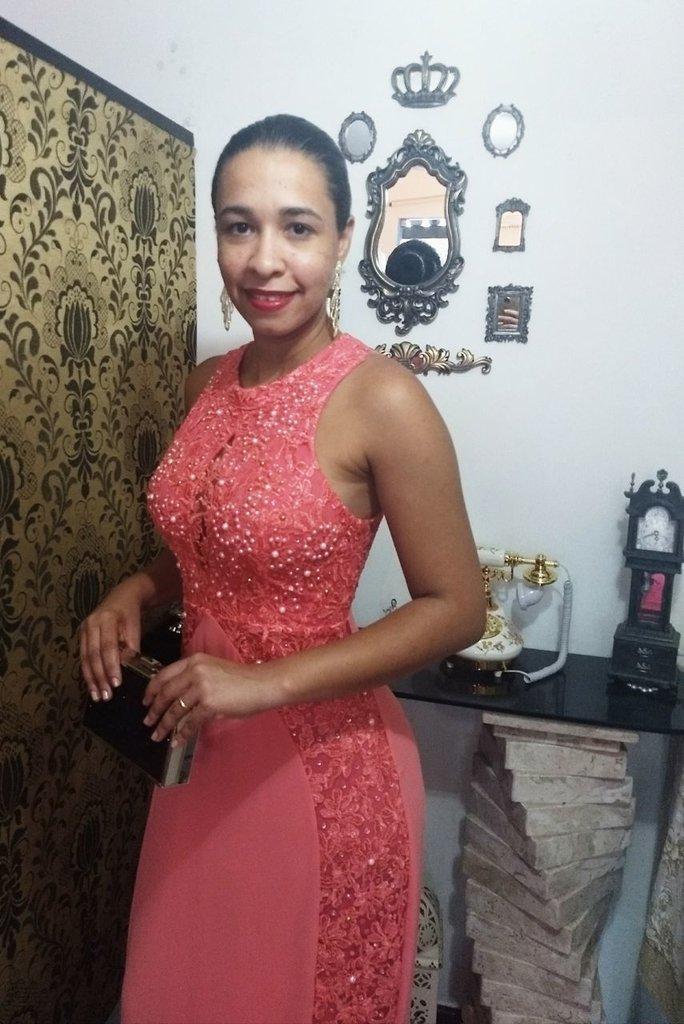 Vestido De Festa Longo Rosa Salmão