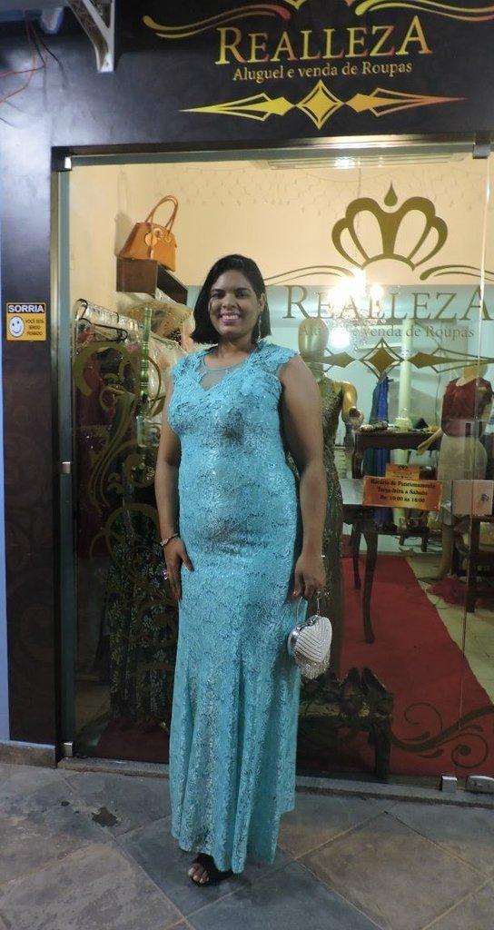 Vestido de festa azul tiffany para alugar