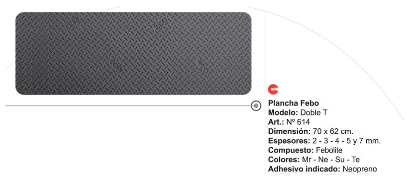 Plancha Goma Febo Doble T de 70 x 62 cm