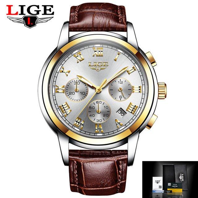 a329616575d ... Relógios Homens Marca De Luxo LIGE Cronógrafo Esportes De Quartzo de  Couro À Prova D  ...