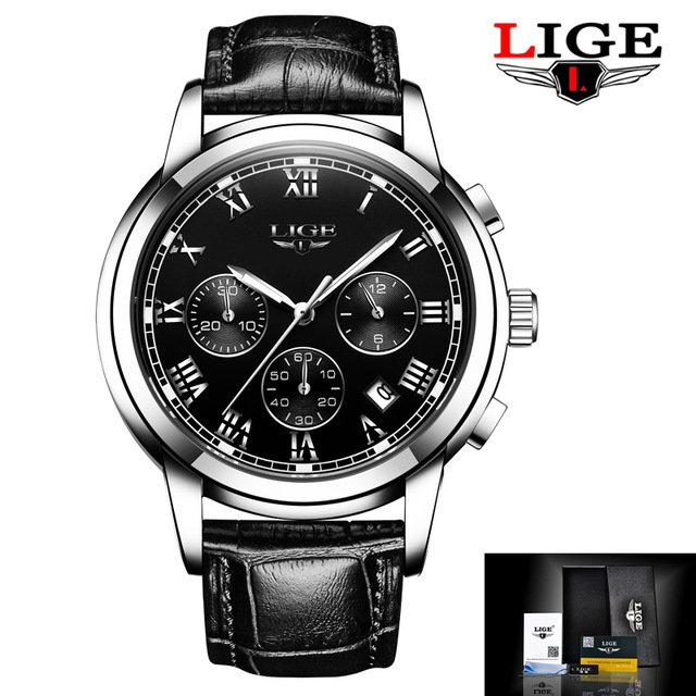 84f2f588ed9 Relógios Homens Marca De Luxo LIGE Cronógrafo Esportes De Quartzo de Couro  À Prova D  Água
