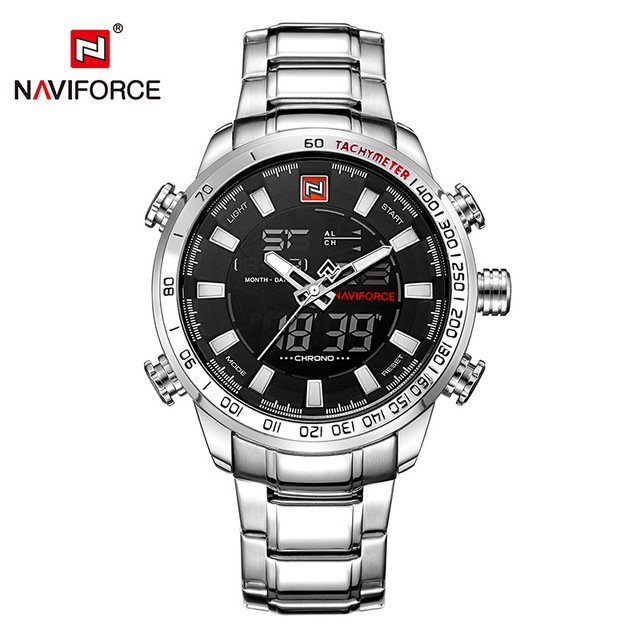 Relógio Naviforce Sport Watch Black Silver na internet