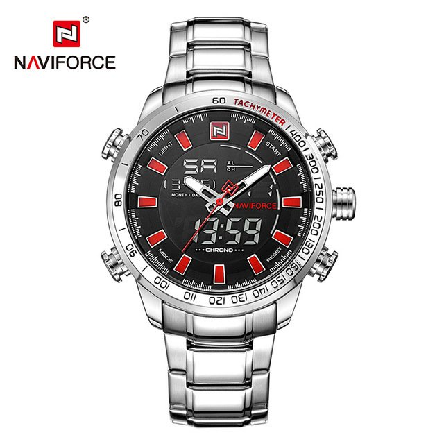 Relógio Naviforce Sport Watch Black Silver - Yasmin Store