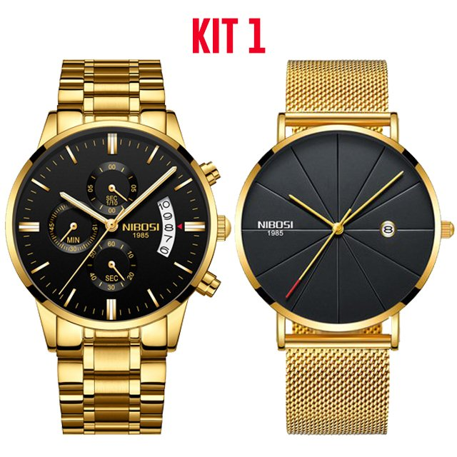 2f74a25e3a3 Kit  Relógio NIBOSI Inox 100% Funcional + Relógios De Luxo NIBOSI Unisex  Homens e