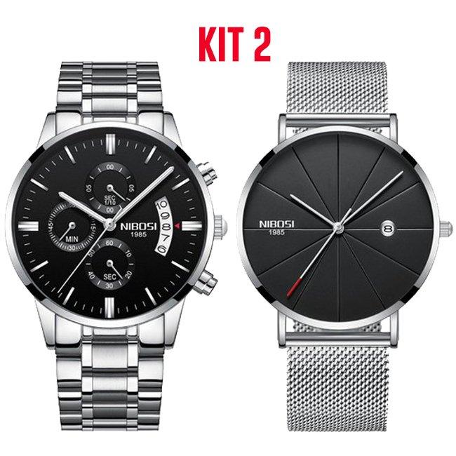 fb7b6b604 ... Kit: Relógio NIBOSI Inox 100% Funcional + Relógios De Luxo NIBOSI  Unisex Homens e ...