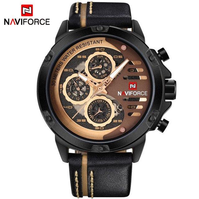 98efce46d2a Relógio NAVIFORCE Mens Top Marca de Luxo