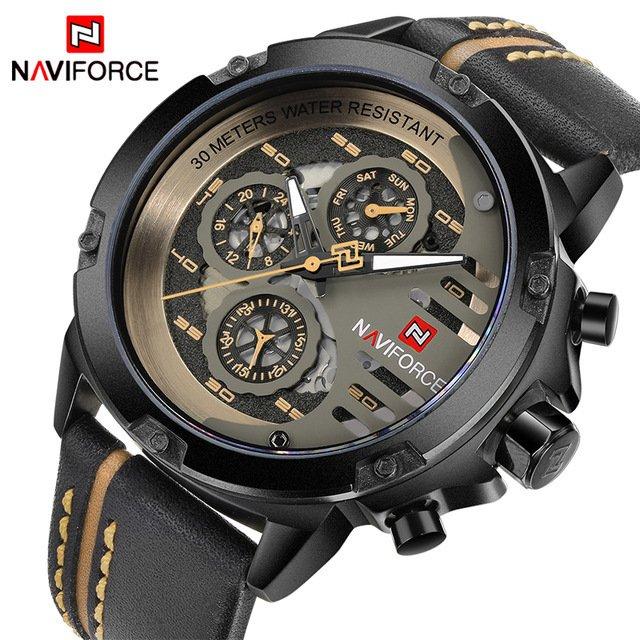 80b2c31f05b Relógio NAVIFORCE Mens Top Marca de Luxo