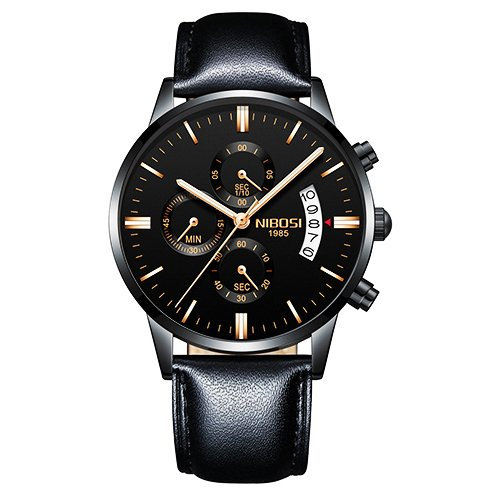 86fb4a2878b Relógio NIBOSI Couro 100% Funcional - Yasmin Store