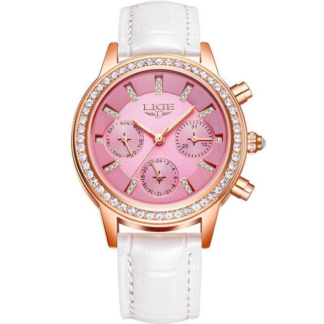 ... Imagem do Relógio Feminino LIGE Marca de Luxo de Quartzo Pulseira de Couro  Casual ... d90b7cd693
