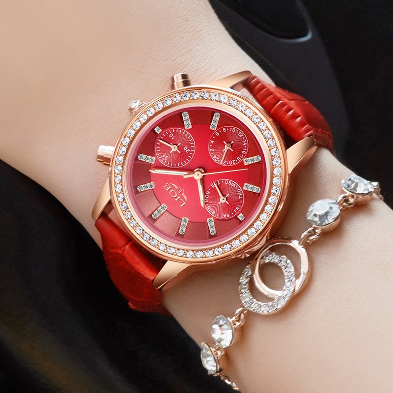 ... Relógio Feminino LIGE Marca de Luxo de Quartzo Pulseira de Couro Casual  - loja online ... f90d3fc3aa