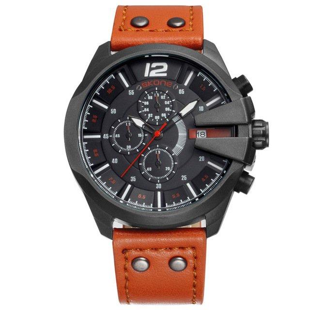 d5bdb91bf54 ... Relógio Masculino Pulseira de Couro SKONE Cronógrafo Cronômetro Esporte  de Quartzo Exército Militar - loja online ...