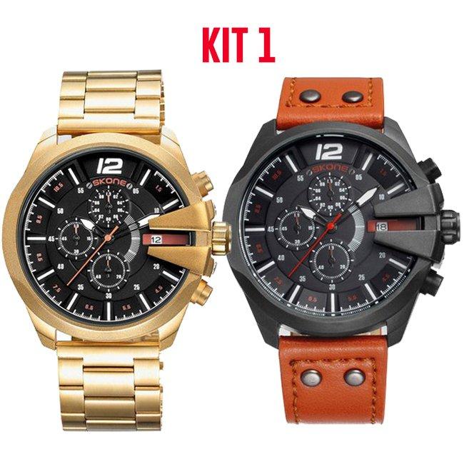 cddb3d951b1 Kit  Relógio Skone Army Funcional + Relógio Skone Militar