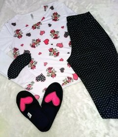 KIT PIJAMA LONGO MINNIE PLUS SIZE + TAPA-OLHO + PANTUFA LOVE - KIT02 na internet