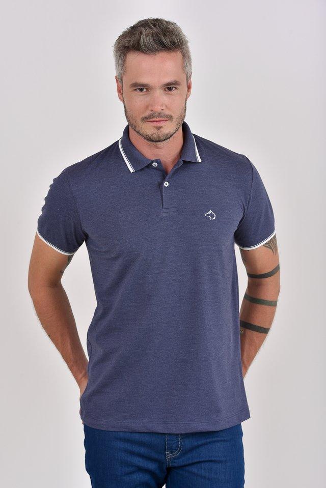 de173aa74e Camisa Polo mescla azul marinho c  detalhes na gola e punhos