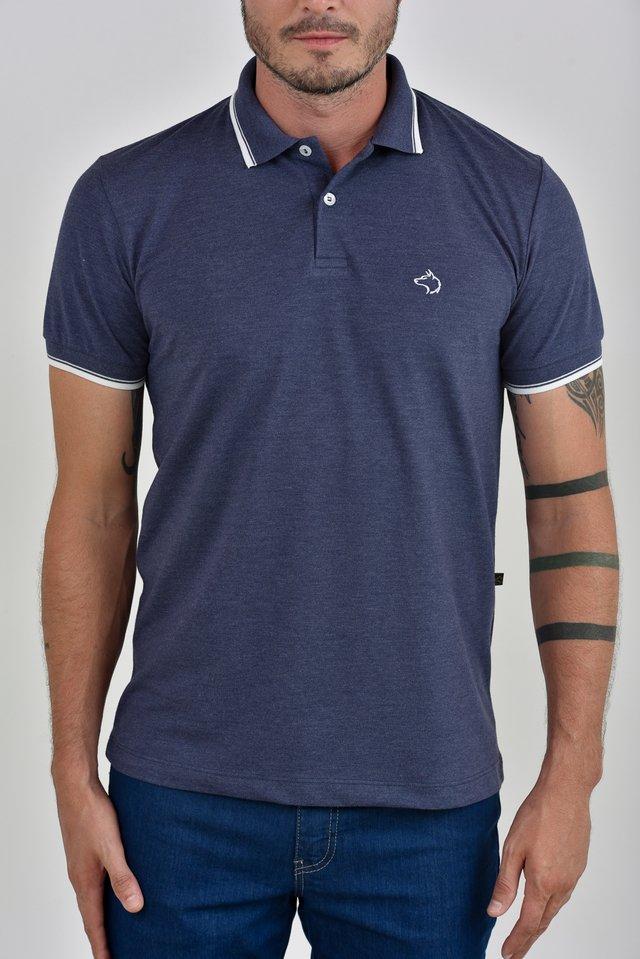 85148a8227 ... Camisa Polo mescla azul marinho c  detalhes na gola e punhos - comprar  online ...