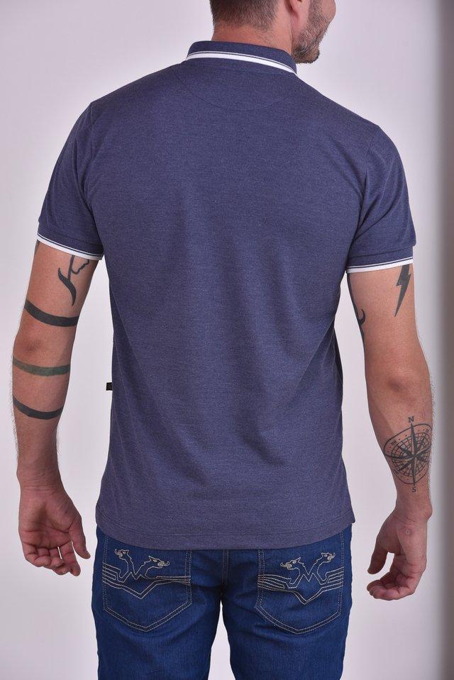 c04b1b5efe Camisa Polo mescla azul marinho c  detalhes na gola e punhos - Alka ...