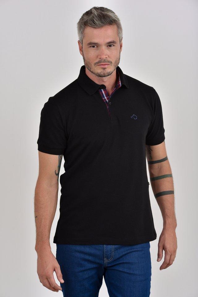 e4f4e16794 ... loja online  Camisa Polo preta com detalhe no pé de gola ...