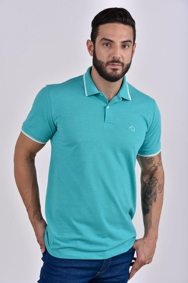 5c7b7ef0a0 ... Camisa Polo verde claro com detalhes na gola e punhos - comprar online  ...