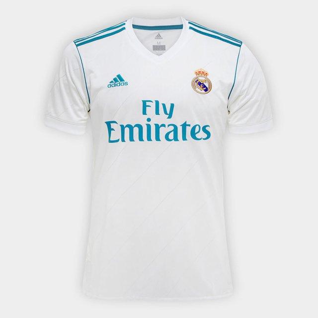 Camisa Real Madrid Home 17 18 - Fan Version - Adidas Masculina - Branco e a29ba16956dcf