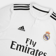 Camisa Real Madrid Home 18/19 s/n° Torcedor Adidas Masculina - Branco e Preto - ValeSports