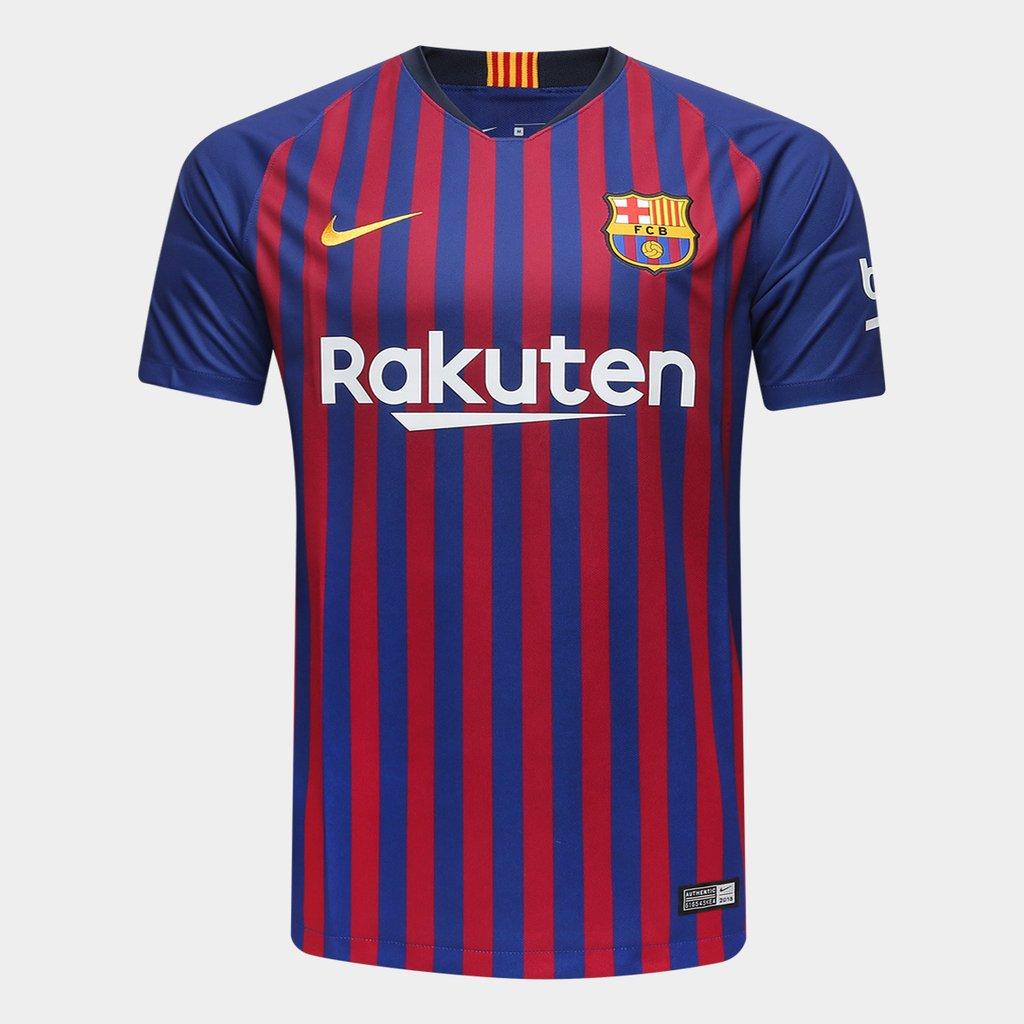 6ca79a2ea2d76 Camisa Barcelona Home 2018 s n° Torcedor Nike Masculina - Azul e Grená
