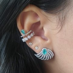 Brinco Ear Cuff Turquesa - Ródio na internet