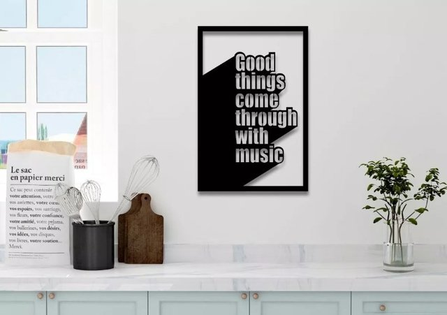 Quadro Decorativo Mdf Musical