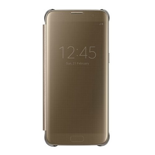 Funda Original Samsung S7 Edge Dorado Clear View Cover gold