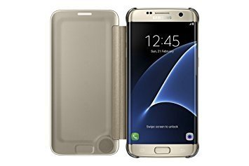 Funda Original Samsung S7 Edge Dorado Clear View Cover gold - Gondack