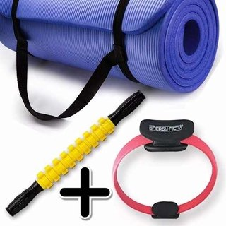 Kit Fitness Mat Yoga Pilates + Flex Ring + Rodillo Masaje