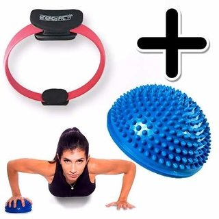 Kit Fitness Ring Anillo Flex Pilates Aro + Mini Bosu Balance