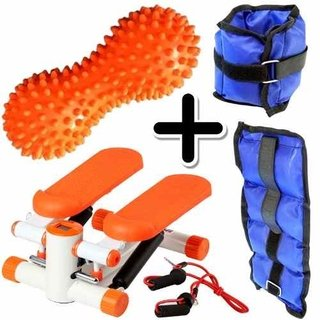 Kit Fitness Mini Stepper + Tobillera 1kg + Pelota Mani Picos